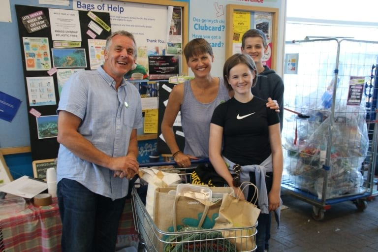 The Edwards family at Tesco Mold during a plastic unwrap event