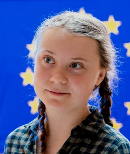 Image of Greta Thunberg at the European Parliament in 2019
