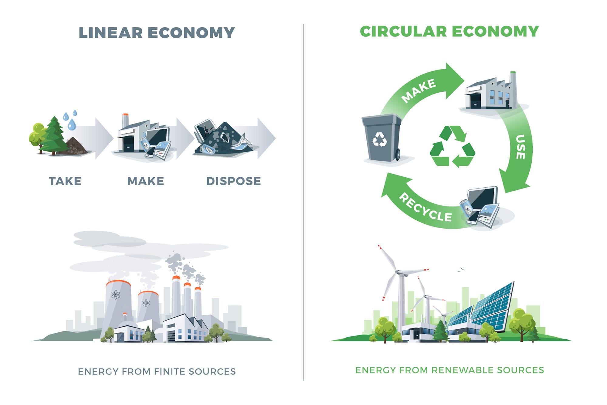 Image of linear economy versus circular economyerstock