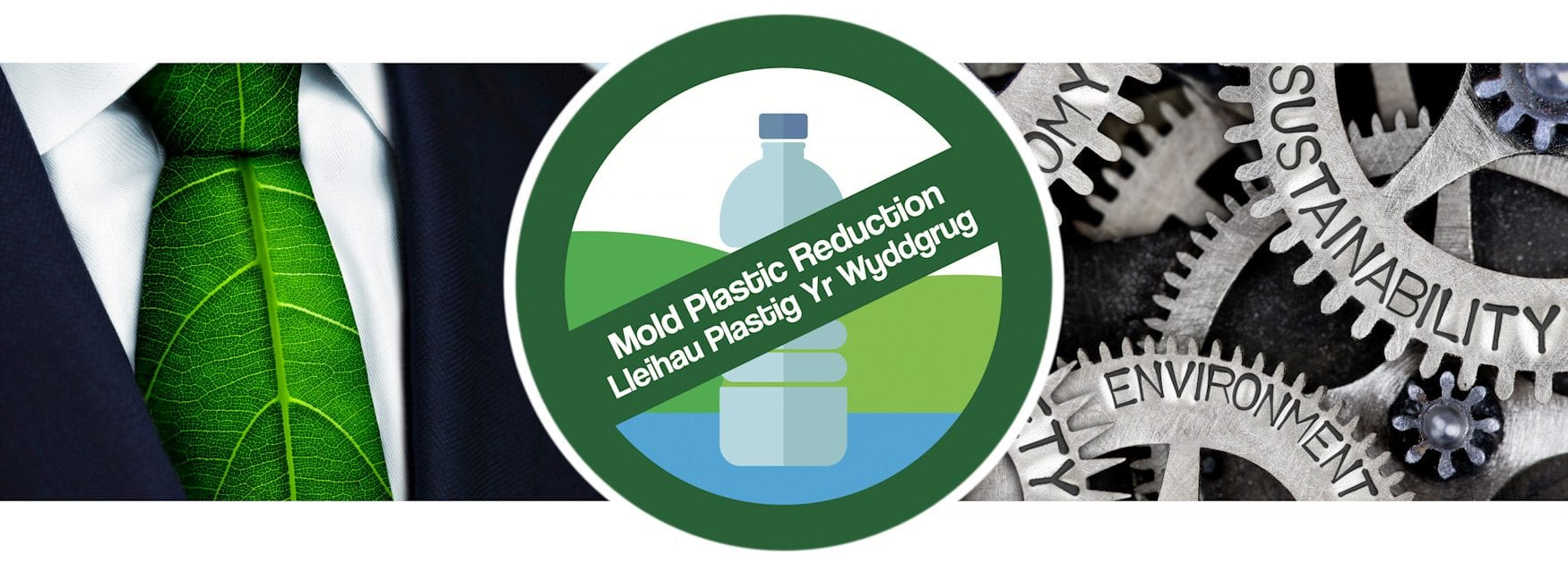 Header for Plastic Free Business Hacks page showing collage of shirt with leaf tie and cogs engraved with words including sustainability and environment