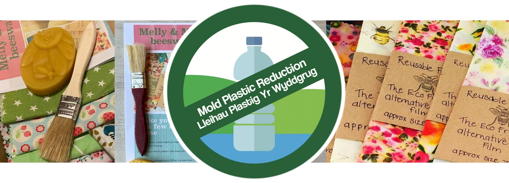 Header image for Plastic Reduction Hacks page showing beeswax wraps
