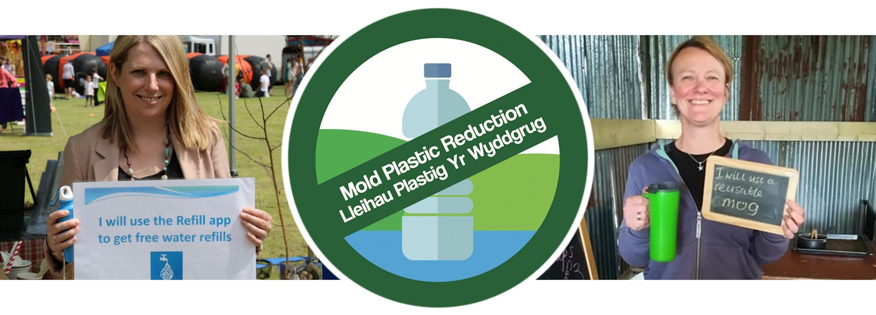Header image for On the Go page showing pledges to use fewer plastic bottles