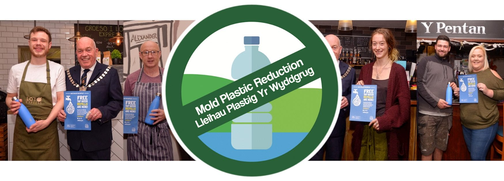 Header image for Refill Your Drinks Bottle page showing Refill scheme members in Mold
