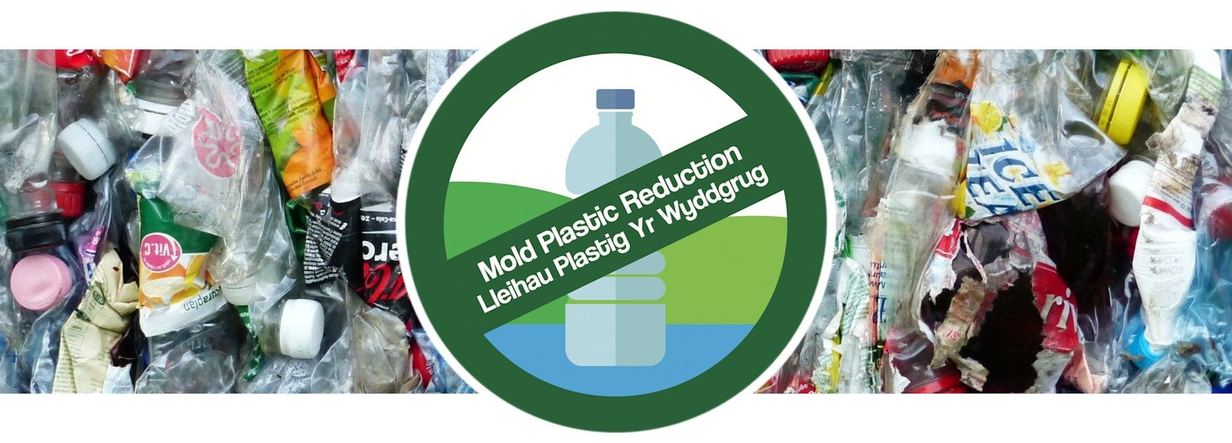 Header image for Where to Recycle page showing plastic bottles, plastic packaging and similar plastic waste