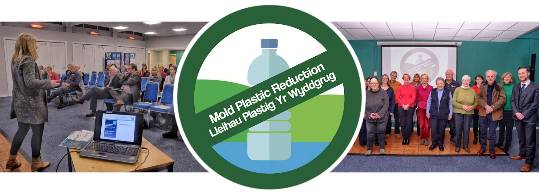 Header image for Who's Who page showing meeting addressed by Hannah Blythyn MS and members of Mold Plastic Reduction group
