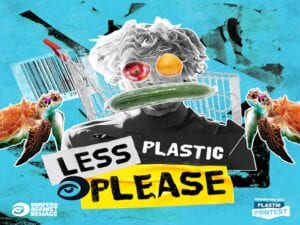 Promotional image for #LessPlasticPlease campaign,