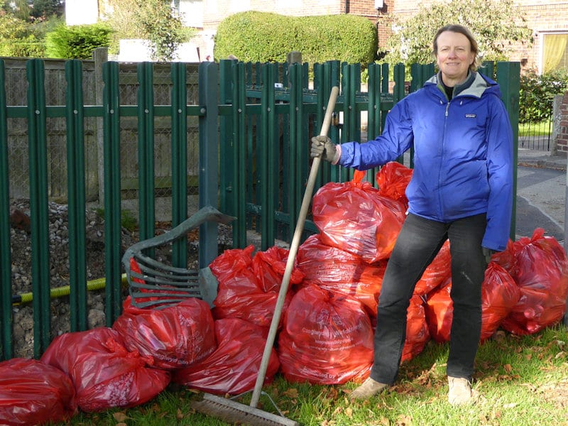 15 bags of rubbish in red plastic sacks collected from Mold Town Park on 25 September 2020