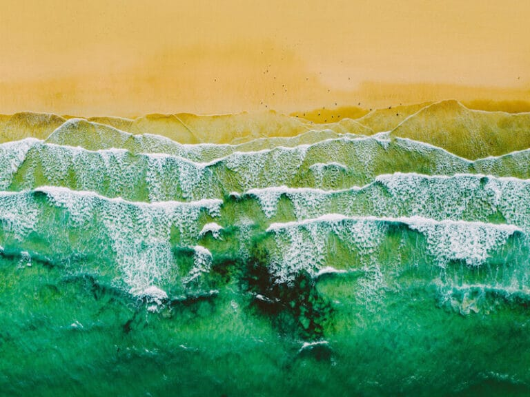 Beach and waves at Carbis Bay, St Ives, Cornwall.