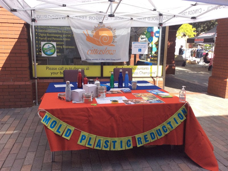 Photo 2 of MPR stall at Mold Market for World Refill Day.