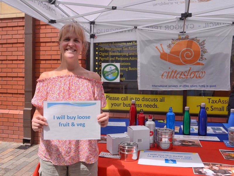 Photo 3 of MPR stall at Mold Market for World Refill Day.
