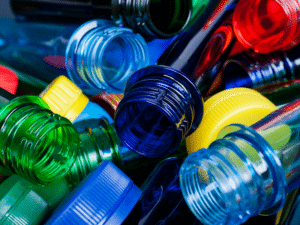 A heap of coloured plastic bottles.