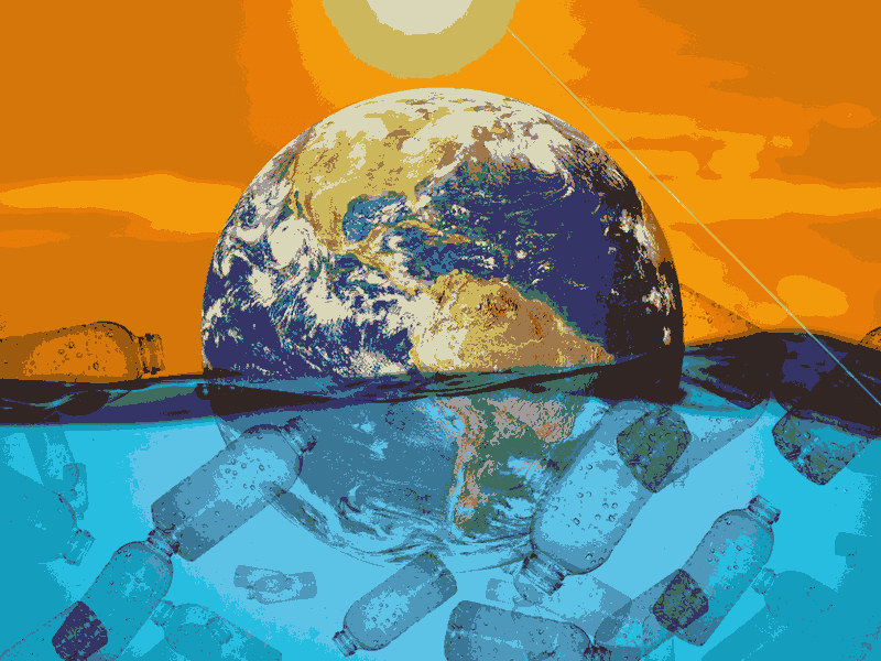 Stylised image of planet Earth floating in sea of plastic waste