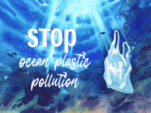 Image of plastic bag in the sea with words 'Stop ocean plastic pollution'