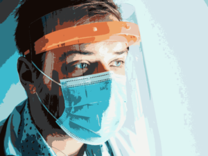 Doctor wearing face mask and visor.
