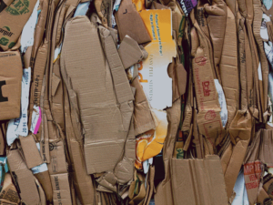 Pile of cardboard boxes for recycling.
